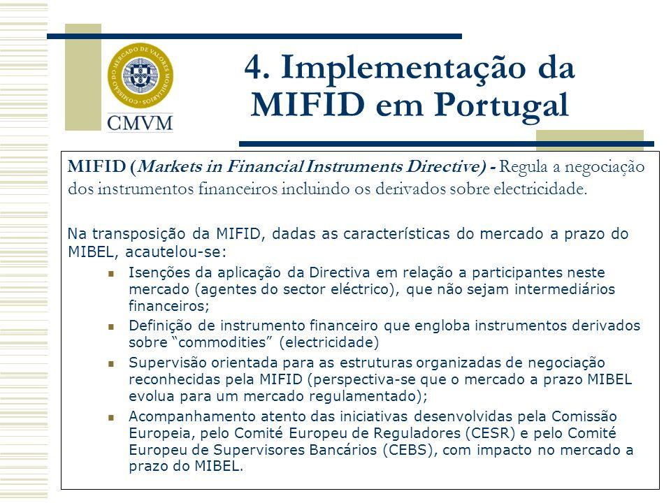MIFID (Markets in Financial Instruments Directive) - Regula a negociação dos instrumentos financeiros incluindo os derivados sobre electricidade. Na t