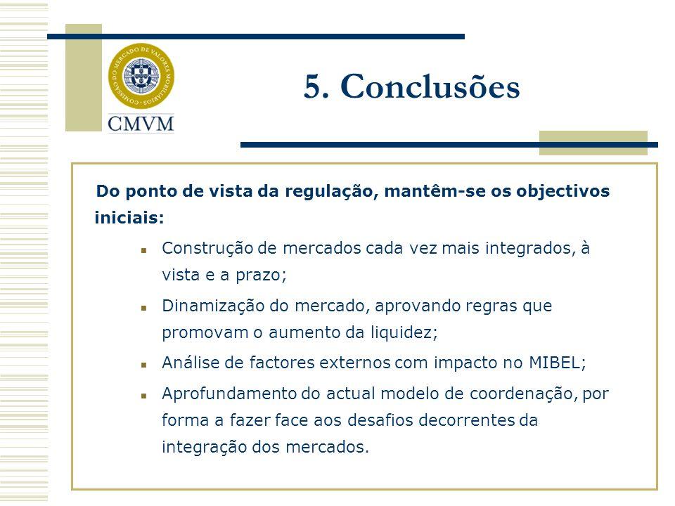 Do ponto de vista da regulação, mantêm-se os objectivos iniciais: Construção de mercados cada vez mais integrados, à vista e a prazo; Dinamização do mercado, aprovando regras que promovam o aumento da liquidez; Análise de factores externos com impacto no MIBEL; Aprofundamento do actual modelo de coordenação, por forma a fazer face aos desafios decorrentes da integração dos mercados.