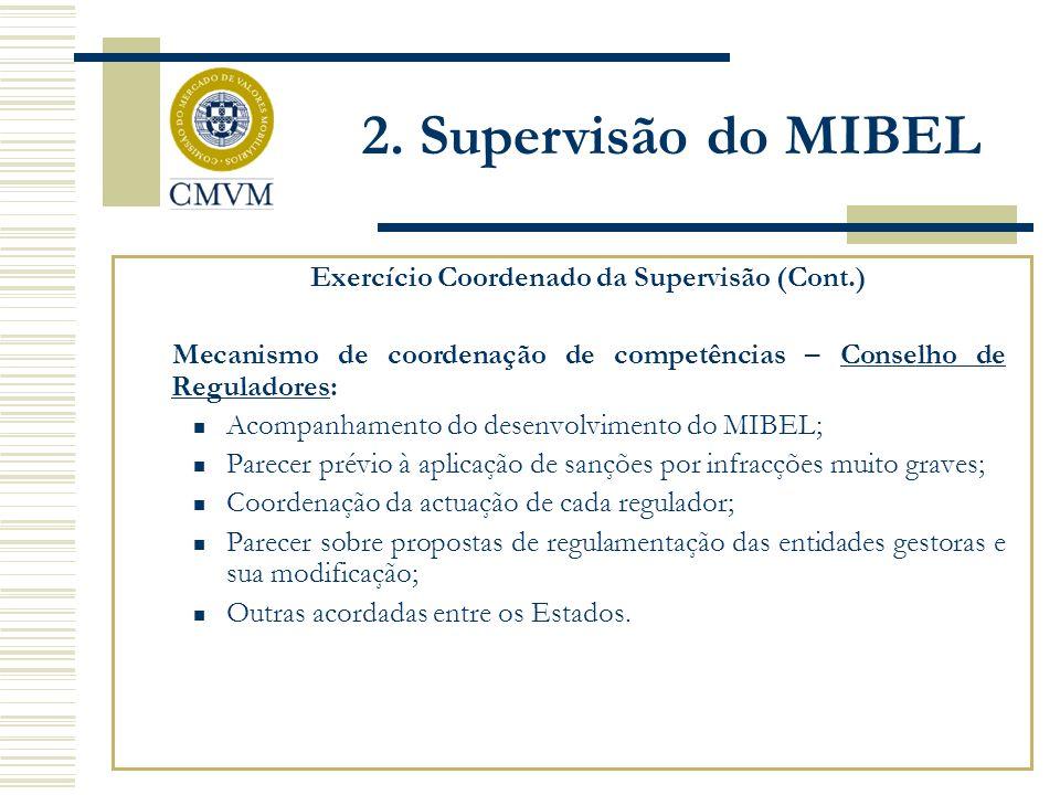 Exercício Coordenado da Supervisão (Cont.) Mecanismo de coordenação de competências – Conselho de Reguladores: Acompanhamento do desenvolvimento do MI