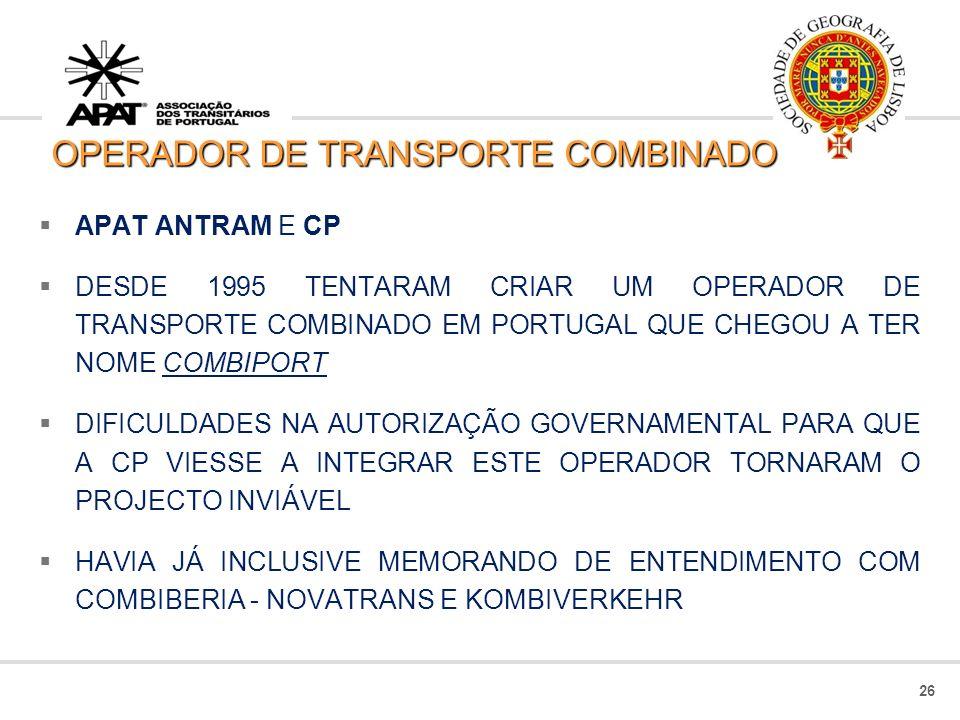25 TRANSPORTE COMBINADO: RODO FERROVIÁRIO