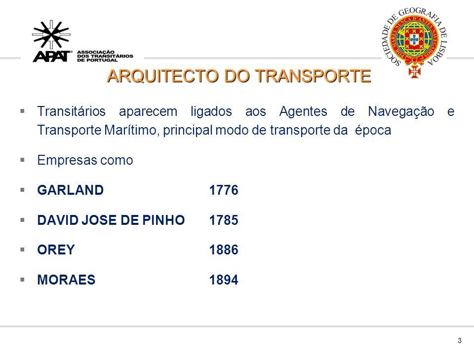 ARQUITECTO DO TRANSPORTE Transitários aparecem ligados aos Agentes de Navegação e Transporte Marítimo, principal modo de transporte da época Empresas como GARLAND 1776 DAVID JOSE DE PINHO 1785 OREY1886 MORAES1894 3