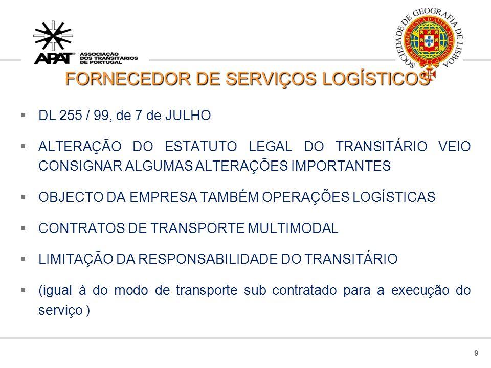 FORNECEDOR DE SERVIÇOS LOGÍSTICOS DL 255 / 99, de 7 de JULHO ALTERAÇÃO DO ESTATUTO LEGAL DO TRANSITÁRIO VEIO CONSIGNAR ALGUMAS ALTERAÇÕES IMPORTANTES OBJECTO DA EMPRESA TAMBÉM OPERAÇÕES LOGÍSTICAS CONTRATOS DE TRANSPORTE MULTIMODAL LIMITAÇÃO DA RESPONSABILIDADE DO TRANSITÁRIO (igual à do modo de transporte sub contratado para a execução do serviço ) 9