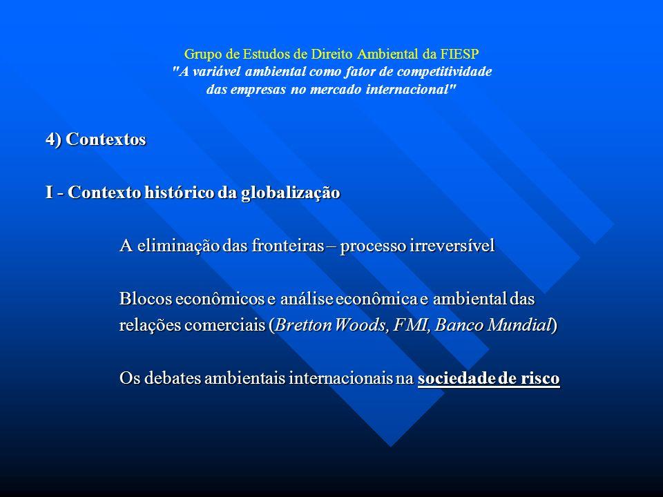 Grupo de Estudos de Direito Ambiental da FIESP A variável ambiental como fator de competitividade das empresas no mercado internacional Matérias primas - commodities - VALE - PETROBRAS - GERDAU - VOTORANTIM - COSAN Necessidade de marcos jurídicos-comerciais internacionais Padrões globais – postura pró-ativa