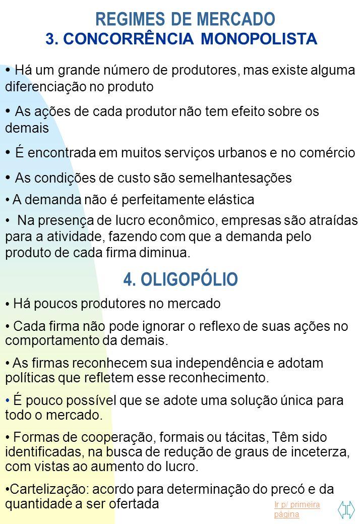 Ir p/ primeira página REGIMES DE MERCADO 3. CONCORRÊNCIA MONOPOLISTA Há um grande número de produtores, mas existe alguma diferenciação no produto As