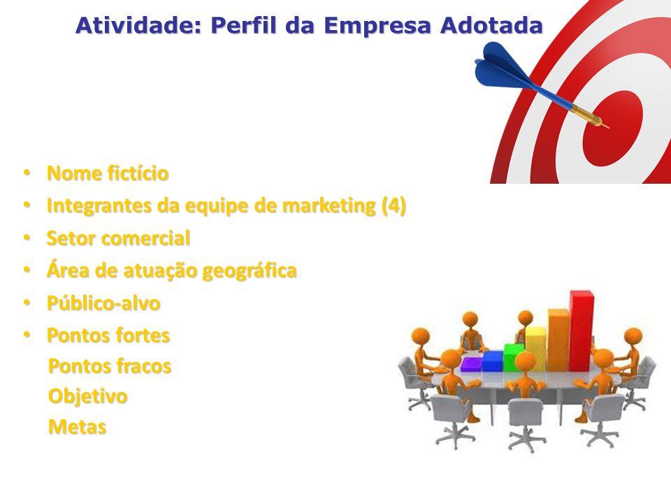Nome fictício Integrantes da equipe de marketing (4) Setor comercial Área de atuação geográfica Público-alvo Pontos fortes Pontos fracos Objetivo Meta