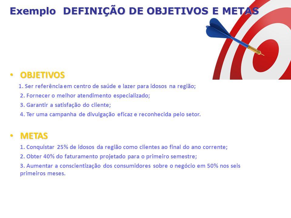 OBJETIVOS 1. Ser referência em centro de saúde e lazer para idosos na região; 2. Fornecer o melhor atendimento especializado; 3. Garantir a satisfação