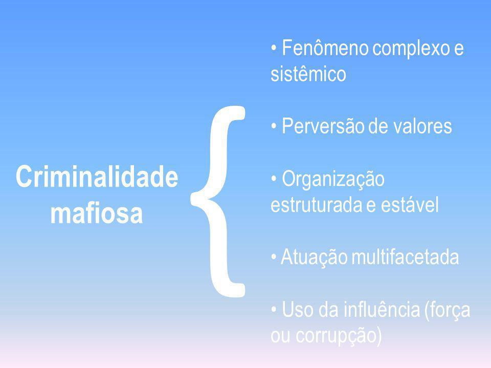 Criminalidade mafiosa { Fenômeno complexo e sistêmico Perversão de valores Organização estruturada e estável Atuação multifacetada Uso da influência (força ou corrupção)