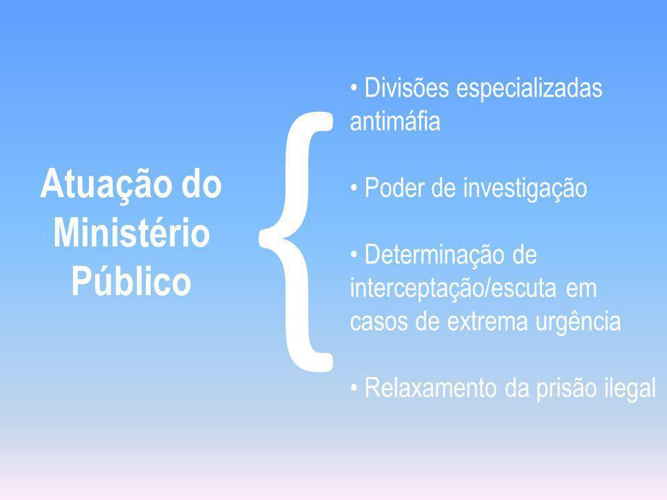 Atuação do Ministério Público { Divisões especializadas antimáfia Poder de investigação Determinação de interceptação/escuta em casos de extrema urgên