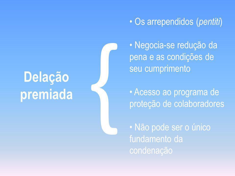 Delação premiada { Os arrependidos ( pentiti ) Negocia-se redução da pena e as condições de seu cumprimento Acesso ao programa de proteção de colaboradores Não pode ser o único fundamento da condenação