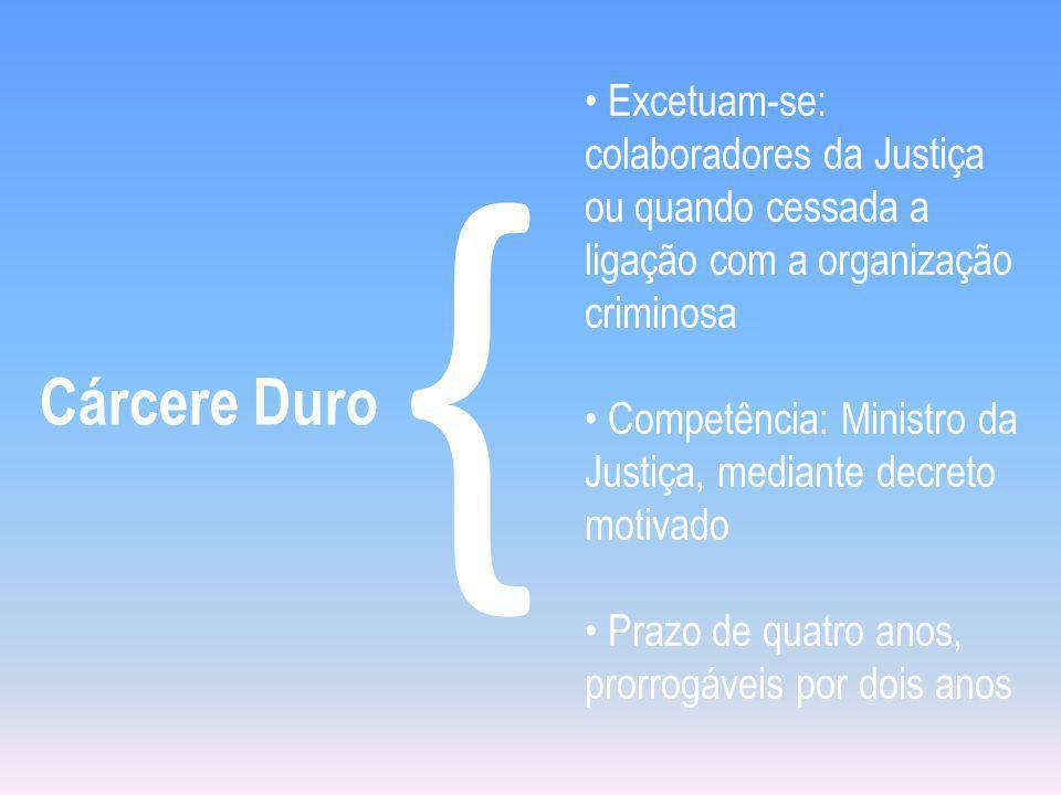 Cárcere Duro { Excetuam-se: colaboradores da Justiça ou quando cessada a ligação com a organização criminosa Competência: Ministro da Justiça, mediant