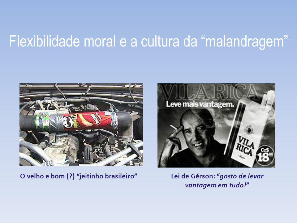 Flexibilidade moral e a cultura da malandragem O velho e bom (?) jeitinho brasileiroLei de Gérson: gosto de levar vantagem em tudo!
