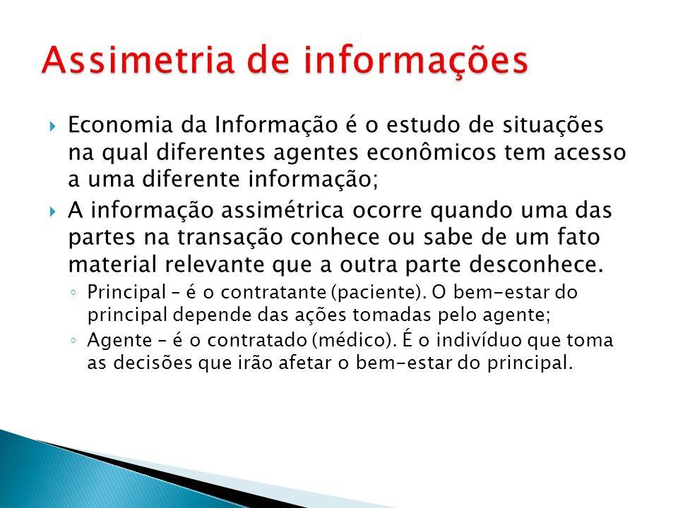 Economia da Informação é o estudo de situações na qual diferentes agentes econômicos tem acesso a uma diferente informação; A informação assimétrica o