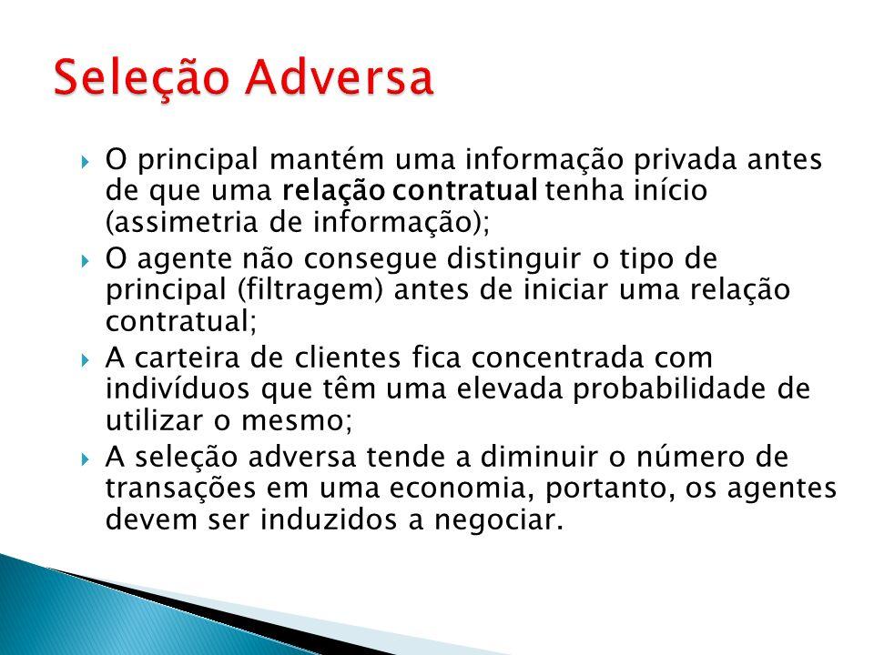 O principal mantém uma informação privada antes de que uma relação contratual tenha início (assimetria de informação); O agente não consegue distingui