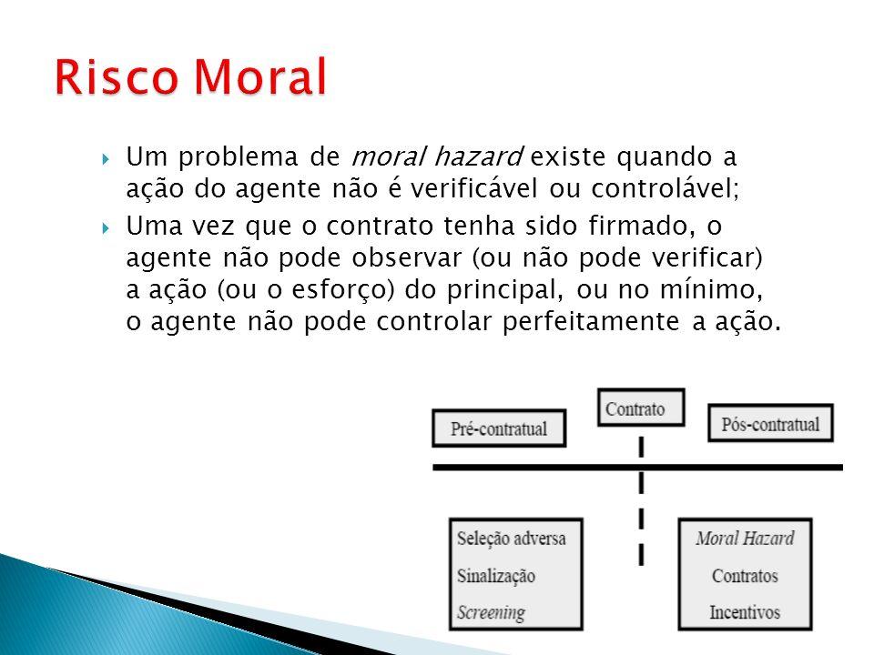 Um problema de moral hazard existe quando a ação do agente não é verificável ou controlável; Uma vez que o contrato tenha sido firmado, o agente não p