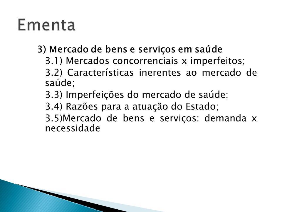 3) Mercado de bens e serviços em saúde 3.1) Mercados concorrenciais x imperfeitos; 3.2) Características inerentes ao mercado de saúde; 3.3) Imperfeiçõ