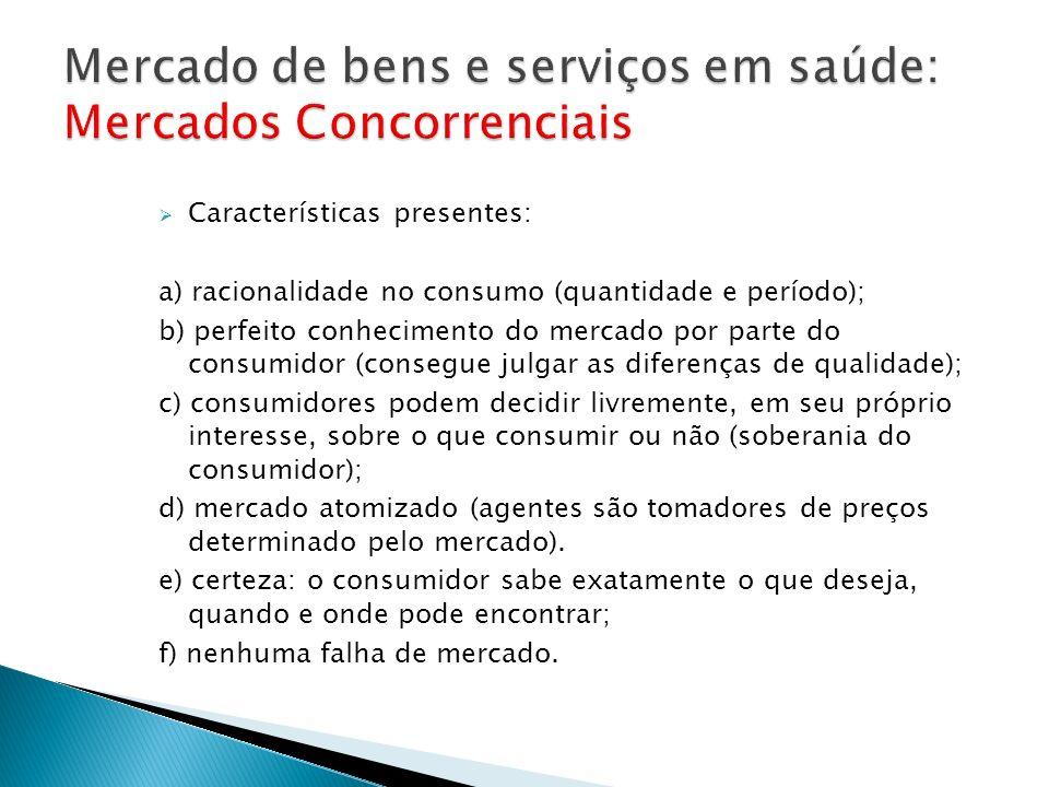 Características presentes: a) racionalidade no consumo (quantidade e período); b) perfeito conhecimento do mercado por parte do consumidor (consegue j