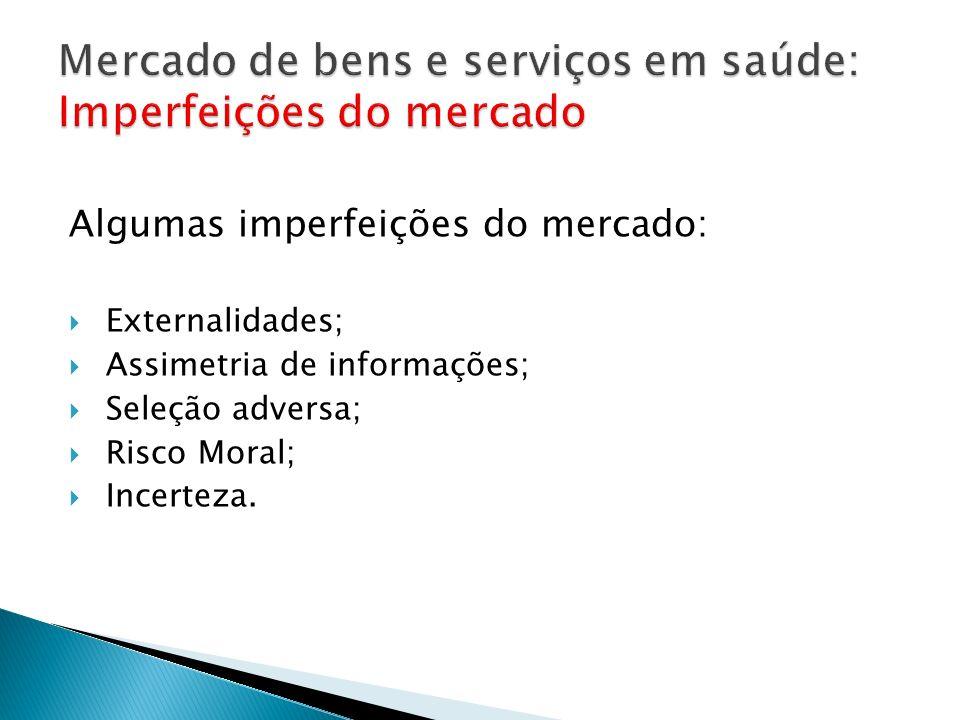 Algumas imperfeições do mercado: Externalidades; Assimetria de informações; Seleção adversa; Risco Moral; Incerteza.