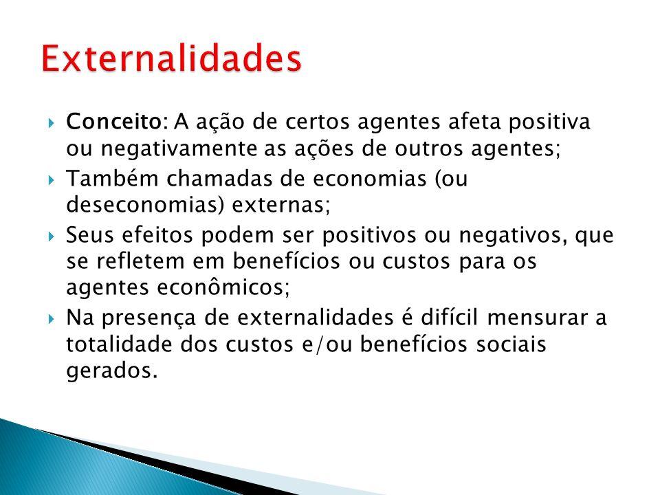 Conceito: A ação de certos agentes afeta positiva ou negativamente as ações de outros agentes; Também chamadas de economias (ou deseconomias) externas