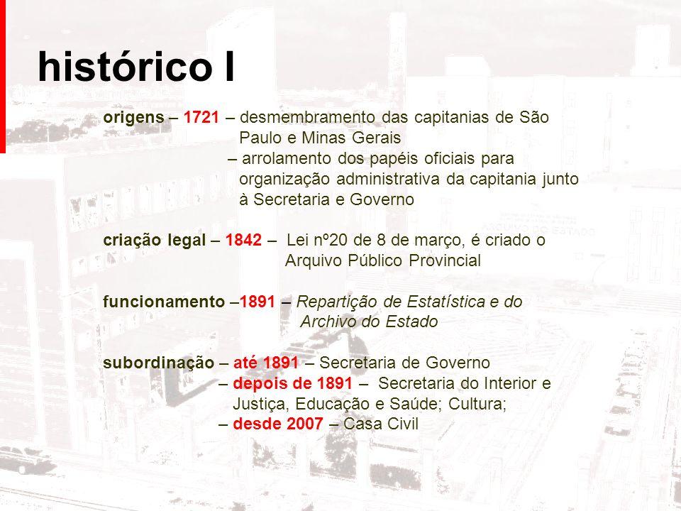 histórico I origens – 1721 – desmembramento das capitanias de São Paulo e Minas Gerais – arrolamento dos papéis oficiais para organização administrati