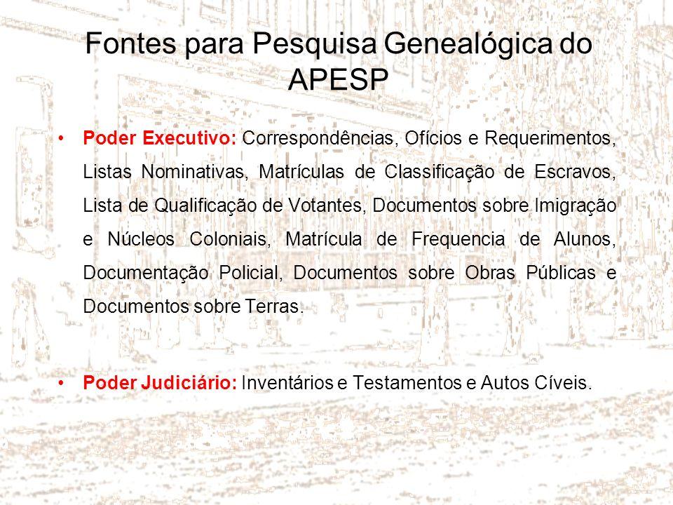 Fontes para Pesquisa Genealógica do APESP Poder Executivo: Correspondências, Ofícios e Requerimentos, Listas Nominativas, Matrículas de Classificação