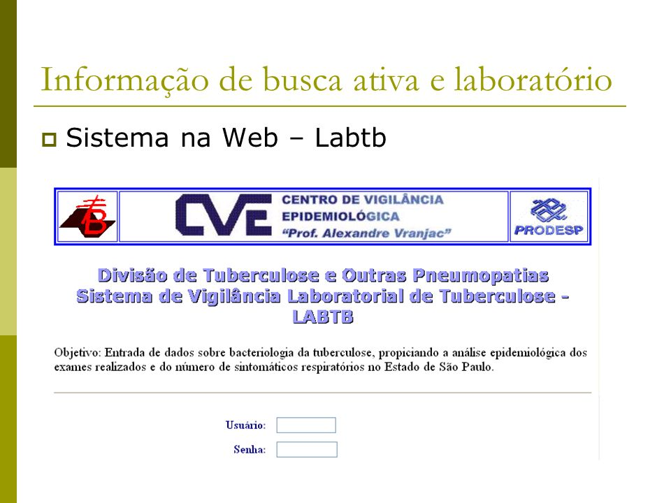 Informação de busca ativa e laboratório Sistema na Web – Labtb