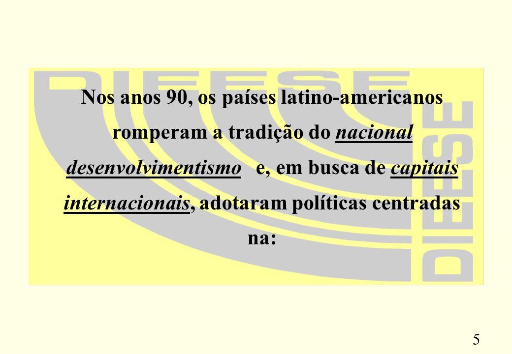 5 Nos anos 90, os países latino-americanos romperam a tradição do nacional desenvolvimentismo e, em busca de capitais internacionais, adotaram políticas centradas na: