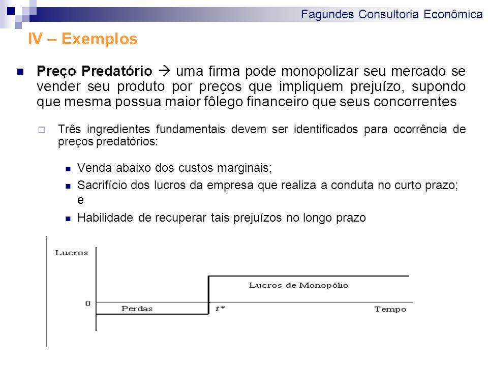 Fagundes Consultoria Econômica IV – Exemplos Preço Predatório uma firma pode monopolizar seu mercado se vender seu produto por preços que impliquem pr