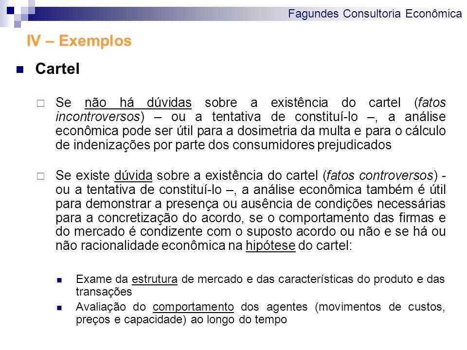 Fagundes Consultoria Econômica IV – Exemplos Cartel Se não há dúvidas sobre a existência do cartel (fatos incontroversos) – ou a tentativa de constitu