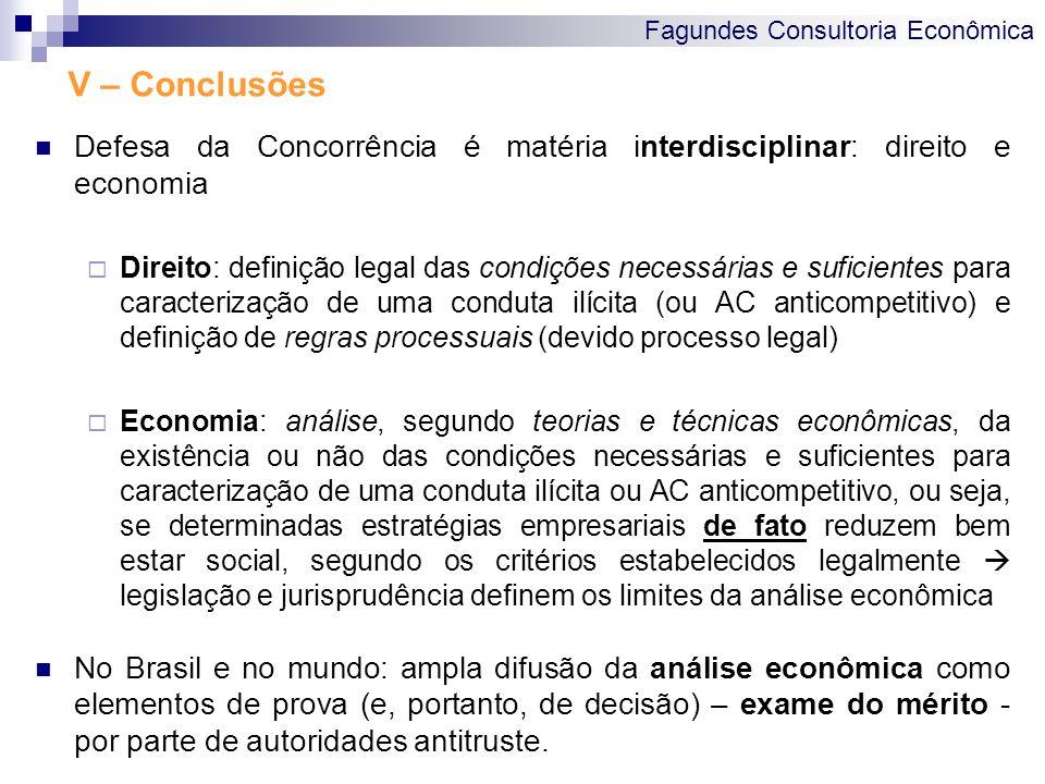 Fagundes Consultoria Econômica V – Conclusões Defesa da Concorrência é matéria interdisciplinar: direito e economia Direito: definição legal das condi