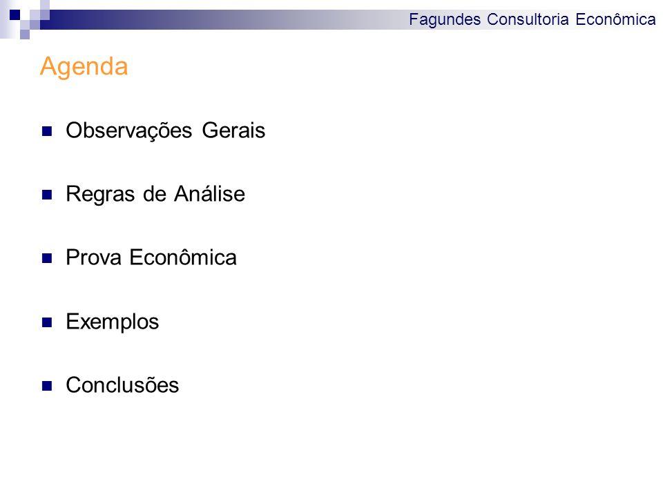 Fagundes Consultoria Econômica Agenda Observações Gerais Regras de Análise Prova Econômica Exemplos Conclusões