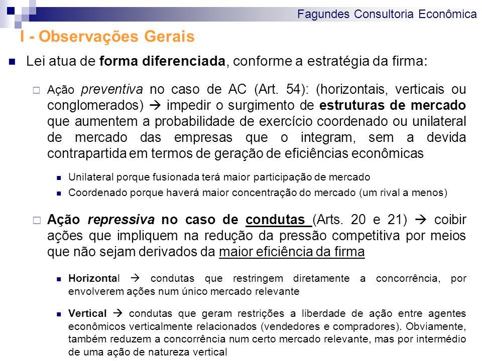 Fagundes Consultoria Econômica I - Observações Gerais Lei atua de forma diferenciada, conforme a estratégia da firma : Ação preventiva no caso de AC (