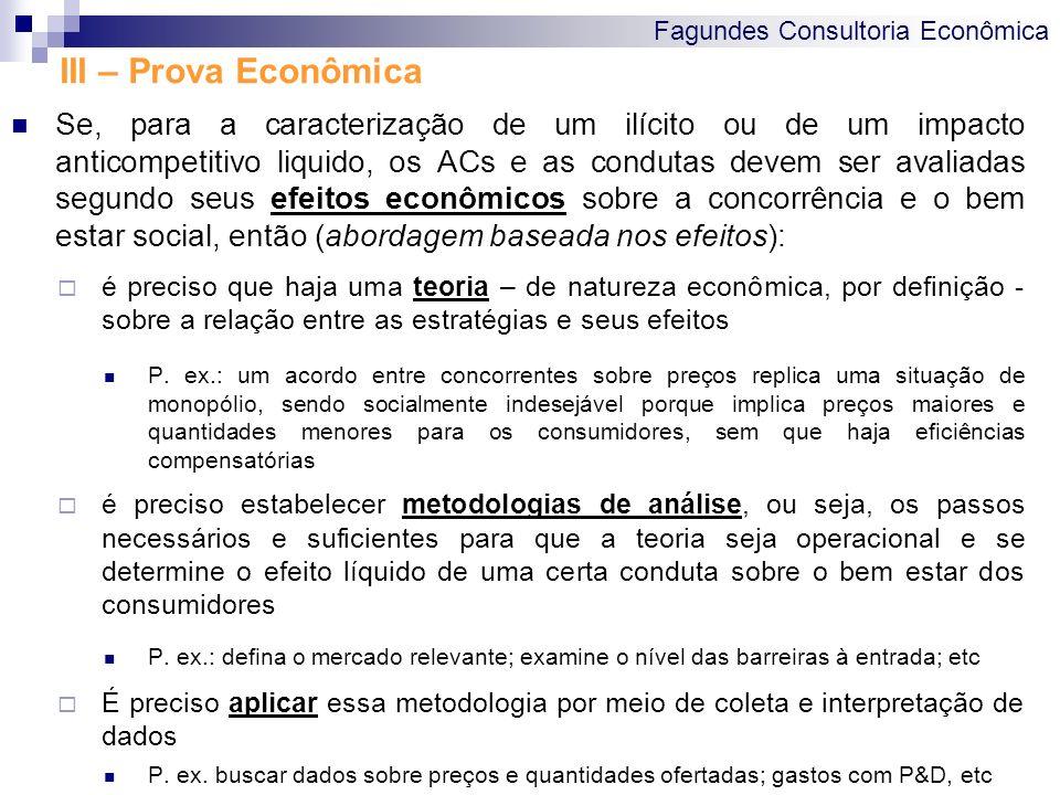 Fagundes Consultoria Econômica III – Prova Econômica Se, para a caracterização de um ilícito ou de um impacto anticompetitivo liquido, os ACs e as con