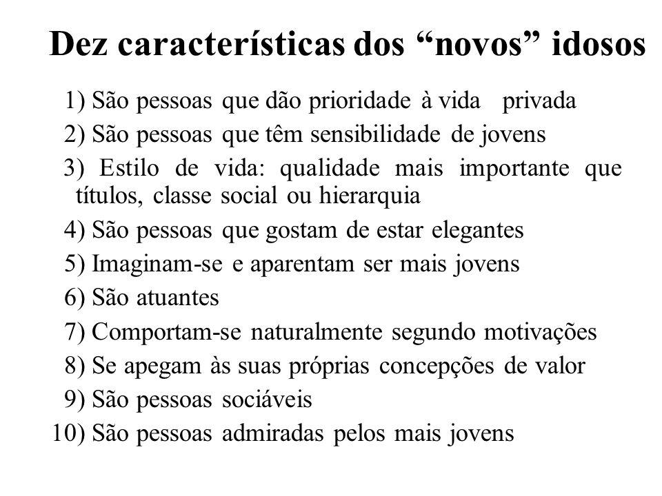 Dez características dos novos idosos 1) São pessoas que dão prioridade à vida privada 2) São pessoas que têm sensibilidade de jovens 3) Estilo de vida