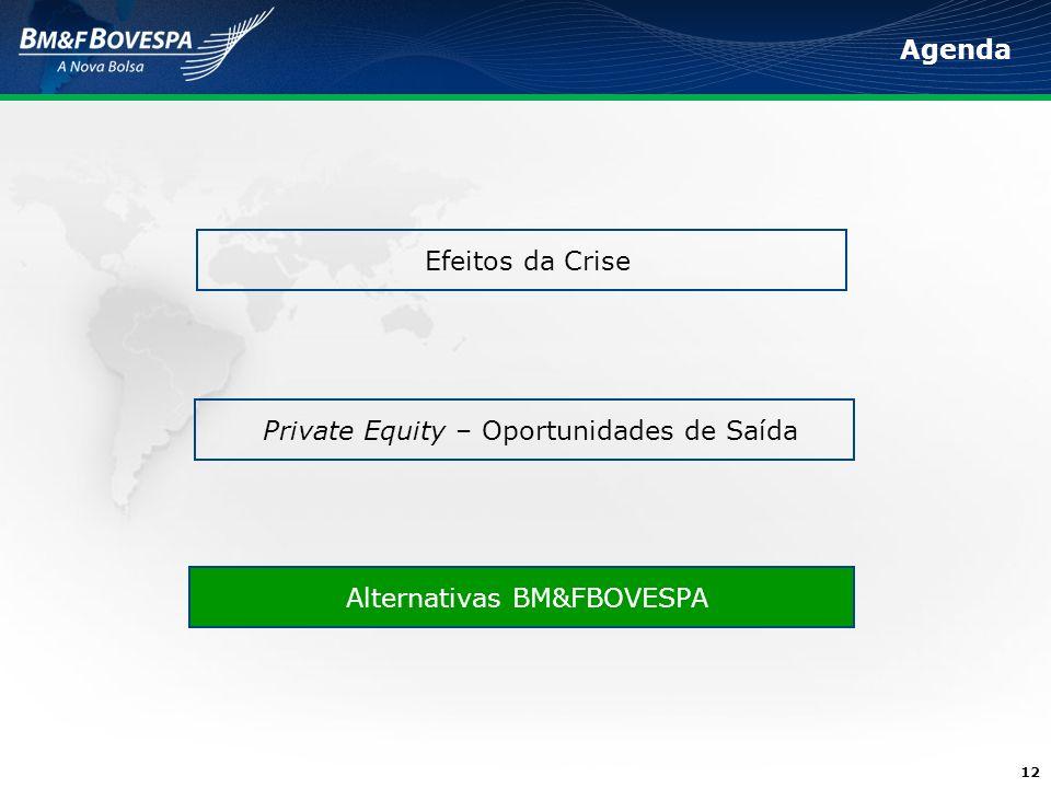 12 Agenda Efeitos da Crise Alternativas BM&FBOVESPA Private Equity – Oportunidades de Saída