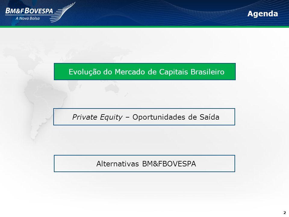 2 Agenda Evolução do Mercado de Capitais Brasileiro Private Equity – Oportunidades de Saída Alternativas BM&FBOVESPA