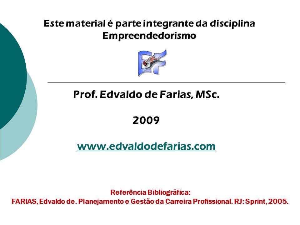Este material é parte integrante da disciplinaEmpreendedorismo Prof. Edvaldo de Farias, MSc. 2009 www.edvaldodefarias.com Referência Bibliográfica: FA