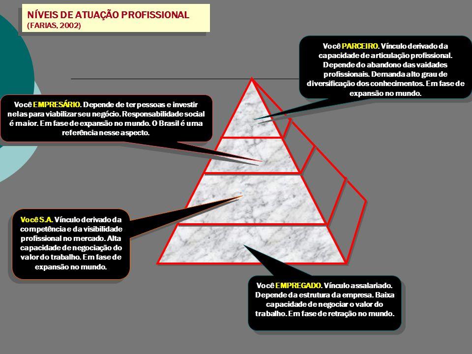 NÍVEIS DE ATUAÇÃO PROFISSIONAL (FARIAS, 2002) Você EMPREGADO. Vínculo assalariado. Depende da estrutura da empresa. Baixa capacidade de negociar o val
