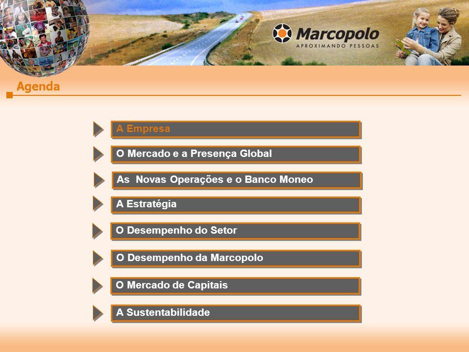 Fundada em 1949 Área Construída TotalBrasil e Exterior 253.000 m² Área Total Brasil e Exterior 2.012.000 m² Capacidade de Produção Brasil85 un/dia (sem TMML & GBB) Brasil e Exterior141 un/dia Nº de Colaboradores 2T08 Brasil10.741 Brasil e Exterior13.589 Brasil e Exterior13.589 Número de Fábricas Brasil4 Exterior10 Exterior10 Receita Líquida 2008E R$ bilhões2,4 Produção 2008EUnidades21.000 Dividendos 2007R$ milhões75,0 (56,7% LL) O QUE É A MARCOPOLO 3