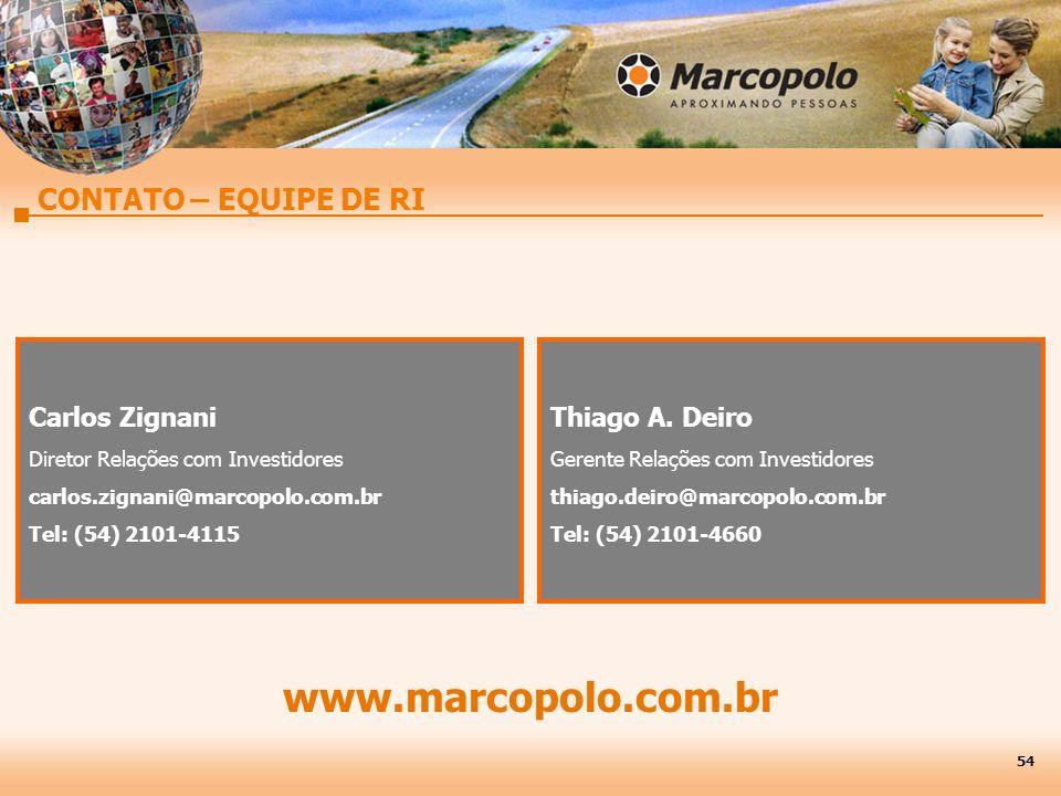 CONTATO – EQUIPE DE RI Carlos Zignani Diretor Relações com Investidores carlos.zignani@marcopolo.com.br Tel: (54) 2101-4115 Thiago A. Deiro Gerente Re
