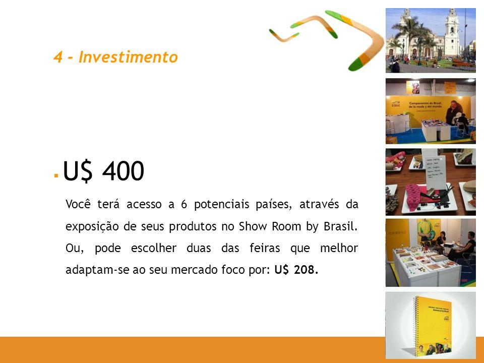 4 - Investimento U$ 400 Você terá acesso a 6 potenciais países, através da exposição de seus produtos no Show Room by Brasil. Ou, pode escolher duas d