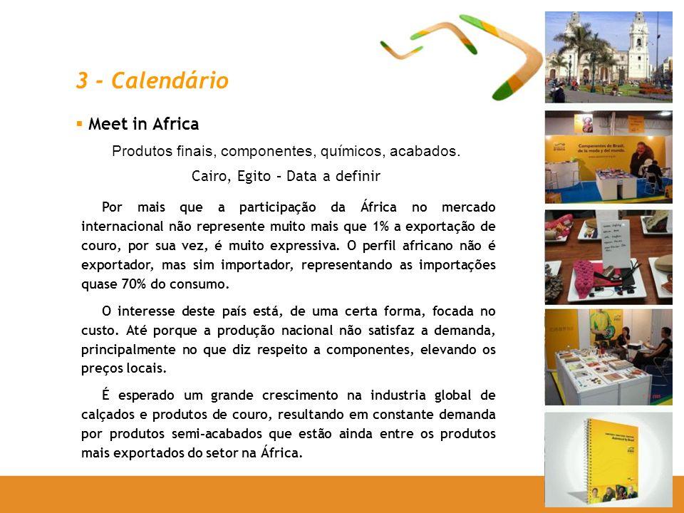 Meet in Africa Produtos finais, componentes, qu í micos, acabados. Cairo, Egito – Data a definir Por mais que a participação da África no mercado inte