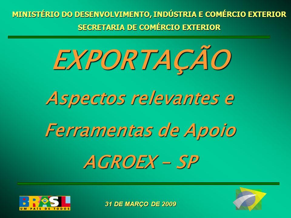 MINISTÉRIO DO DESENVOLVIMENTO, INDÚSTRIA E COMÉRCIO EXTERIOR SECRETARIA DE COMÉRCIO EXTERIOR EXPORTAÇÃO Aspectos relevantes e Ferramentas de Apoio AGR