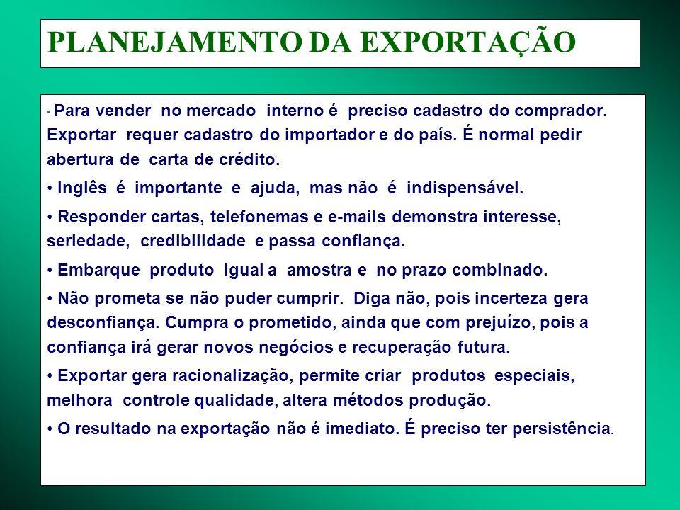 PLANEJAMENTO DA EXPORTAÇÃO Para vender no mercado interno é preciso cadastro do comprador. Exportar requer cadastro do importador e do país. É normal