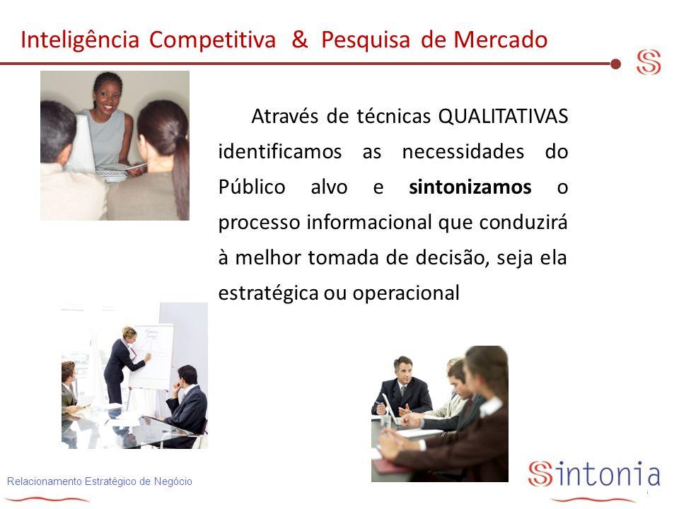 Relacionamento Estratégico de Negócio Através de técnicas QUALITATIVAS identificamos as necessidades do Público alvo e sintonizamos o processo informa