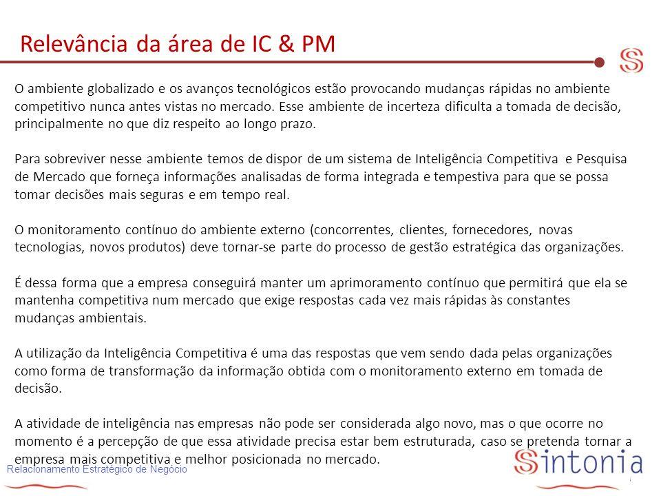 Relacionamento Estratégico de Negócio Relevância da área de IC & PM O ambiente globalizado e os avanços tecnológicos estão provocando mudanças rápidas