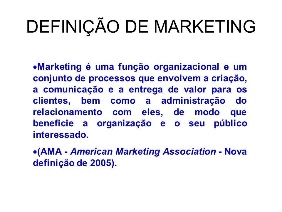 DEFINIÇÃO DE MARKETING Marketing é uma função organizacional e um conjunto de processos que envolvem a criação, a comunicação e a entrega de valor para os clientes, bem como a administração do relacionamento com eles, de modo que beneficie a organização e o seu público interessado.