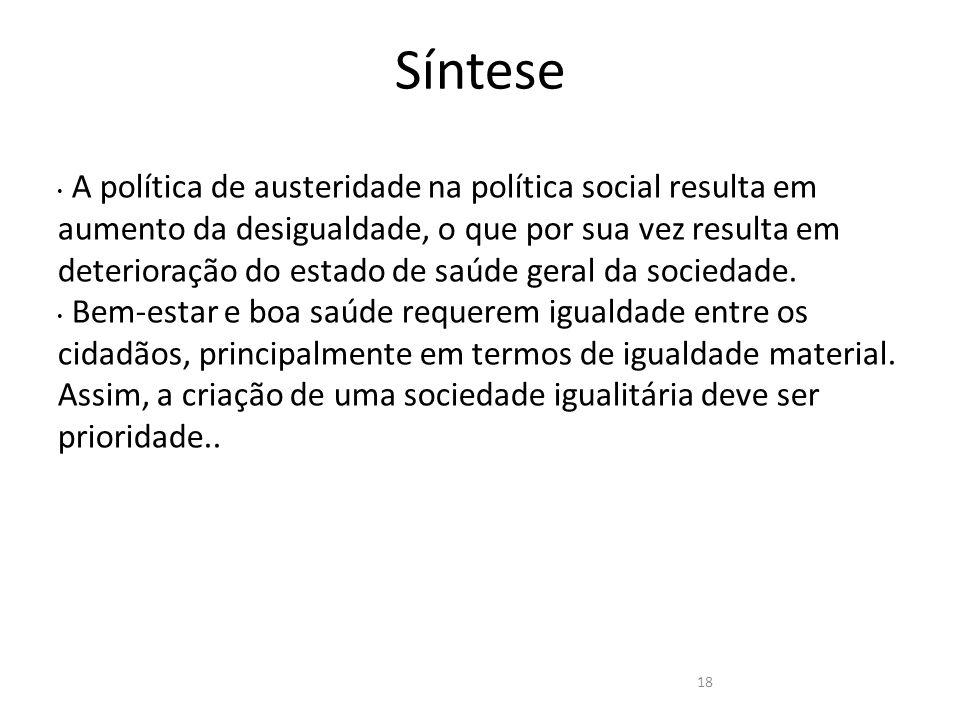 Síntese A política de austeridade na política social resulta em aumento da desigualdade, o que por sua vez resulta em deterioração do estado de saúde geral da sociedade.