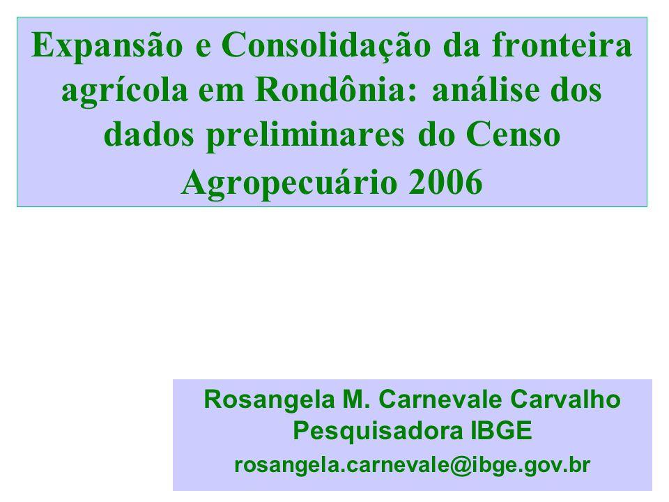 1 Expansão e Consolidação da fronteira agrícola em Rondônia: análise dos dados preliminares do Censo Agropecuário 2006 Rosangela M. Carnevale Carvalho