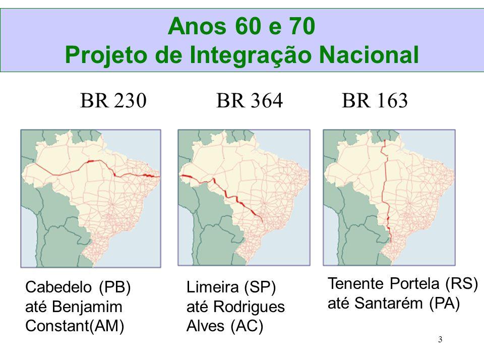 3 BR 230 BR 364 BR 163 Cabedelo (PB) até Benjamim Constant(AM) Limeira (SP) até Rodrigues Alves (AC) Tenente Portela (RS) até Santarém (PA) Anos 60 e