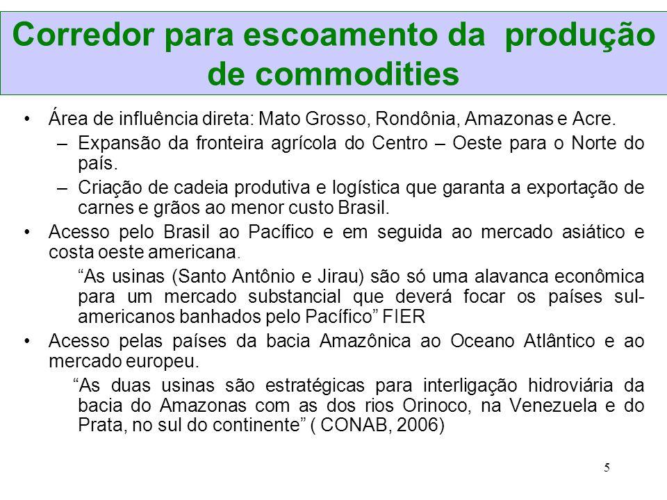 5 Corredor para escoamento da produção de commodities Área de influência direta: Mato Grosso, Rondônia, Amazonas e Acre. –Expansão da fronteira agríco